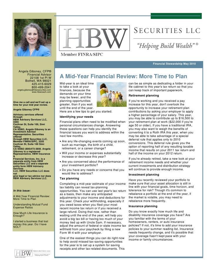 Financial Stewardship May 2010      Angela Giboney, CFP®          Financial Advisor            22108 1st Pl W             ...