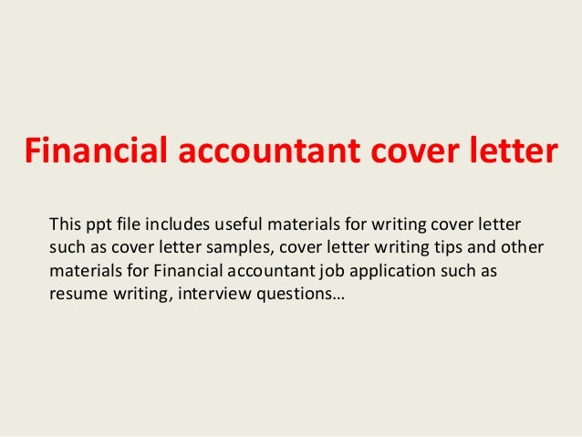 cover letter for financial accountant job application - financial accountant cover letter