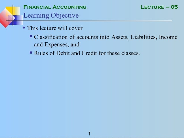 Financial Accounting 1 Lecture 05 Learning Objective O This Will Cover Classification Of