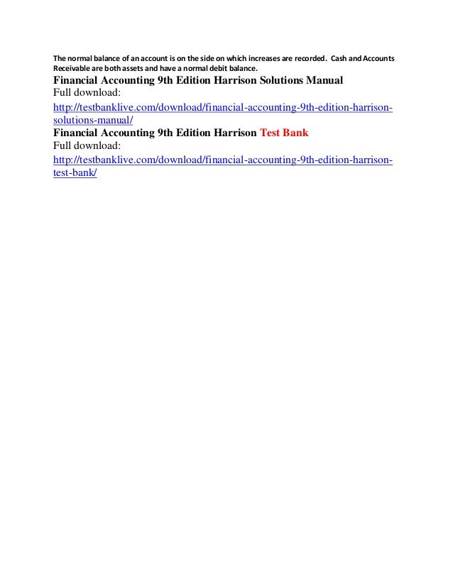financial accounting 9th edition harrison solutions manual rh slideshare net Accountign Manual Centralized Accounting