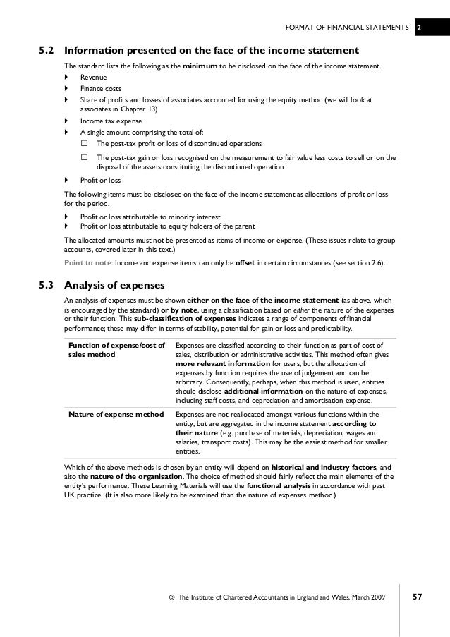 Standard Sales Statement. Financial Accounting Icab Chapter 2 Format Of  Financial Statements