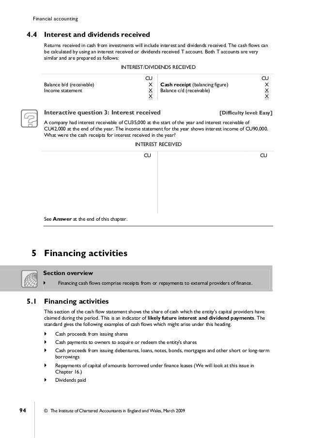 Financial Accounting Icab Chapter 3 Cash Flow Statements