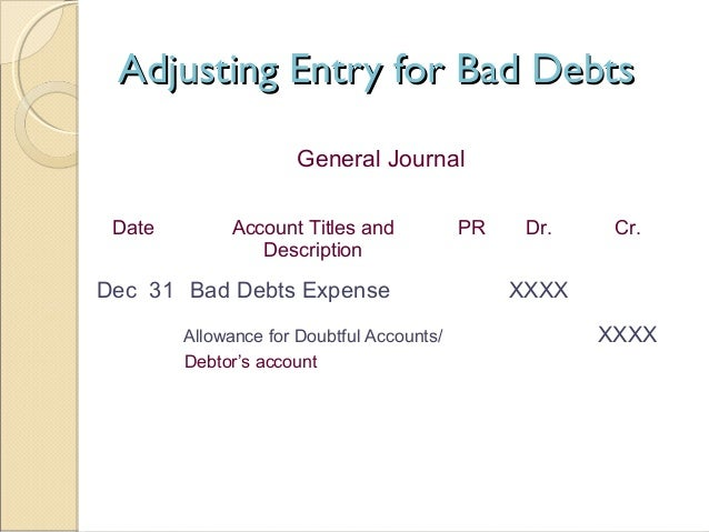 Accounting For Bad Debt Provision