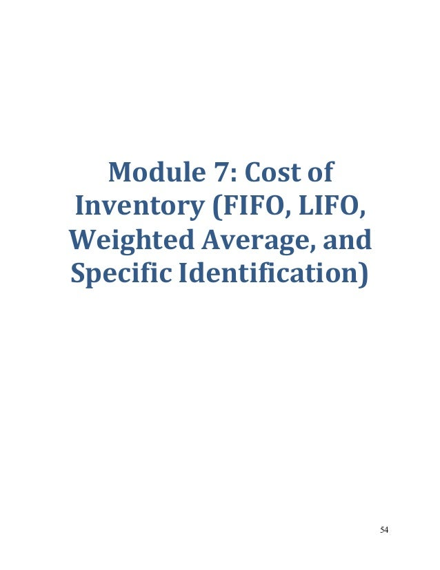 accounting problems on specific identification fifo Specific identification method can be applied in situations where different purchases can be physically separated under this method, each item sold and each item.