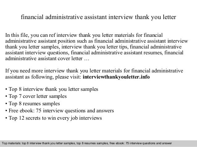 financial administrative assistant interview thank you letter in this file you can ref interview thank