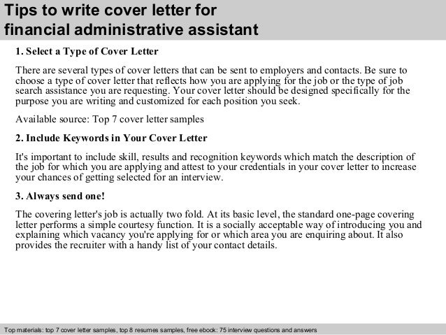 Financial Administrative Assistant Cover Letter