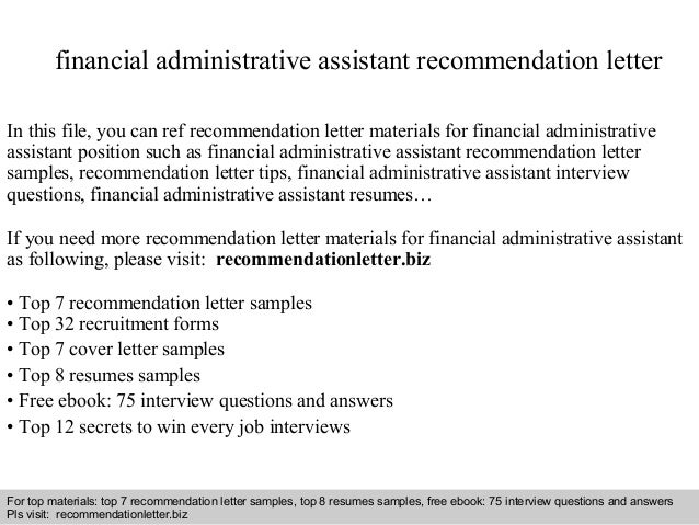 Financial administrative assistant recommendation letter