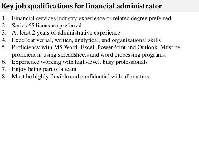 Financial administrator job description