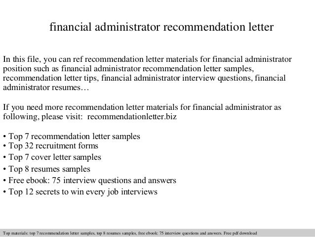 Financial administrator recommendation letter