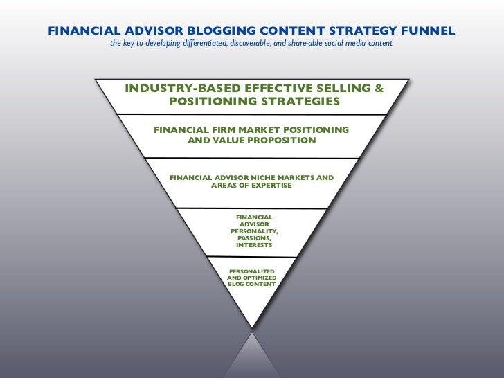 FINANCIAL ADVISOR CONTENT STRATEGY FUNNEL  developing differentiated, discoverable, relevant, compliant, and share-able so...