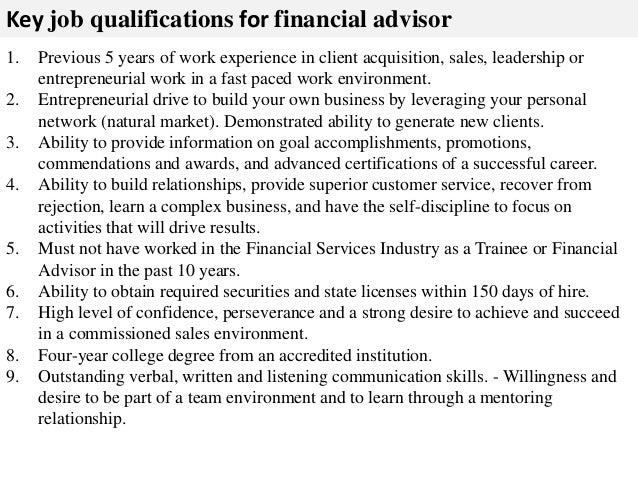 Financial Advisor Job Description