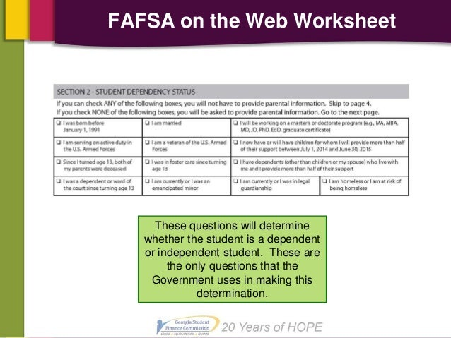 2014 Financial Aid – Fafsa on the Web Worksheet