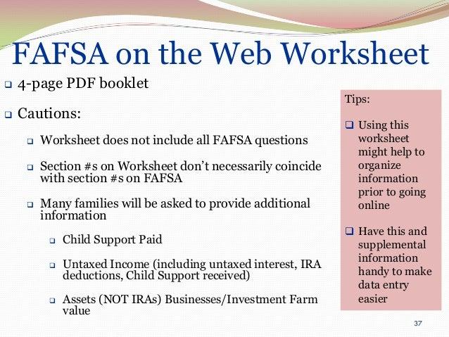 Financial aid basics presentation 2013 – Verification Worksheet Fafsa