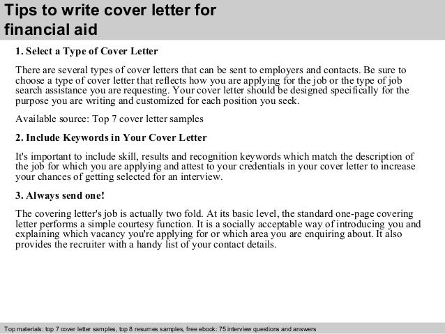 Financial Aid Cover Letter | Resume CV Cover Letter