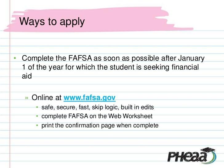 Financial aid presentation 2012 13 – Fafsa on the Web Worksheet