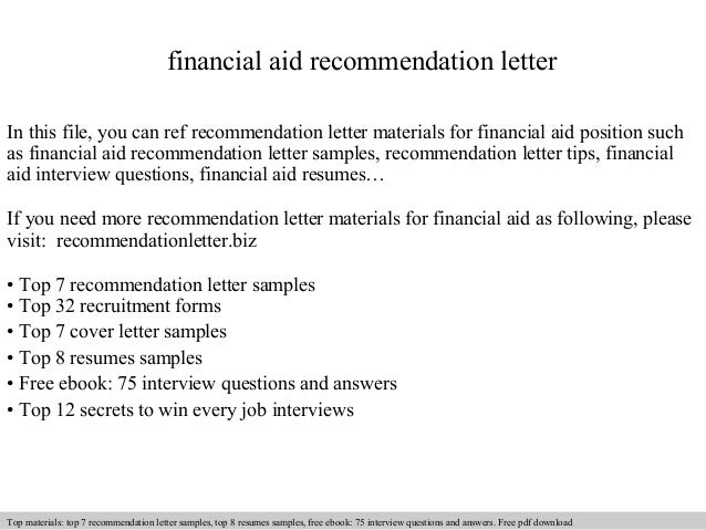 Financial Aid Recommendation Letter