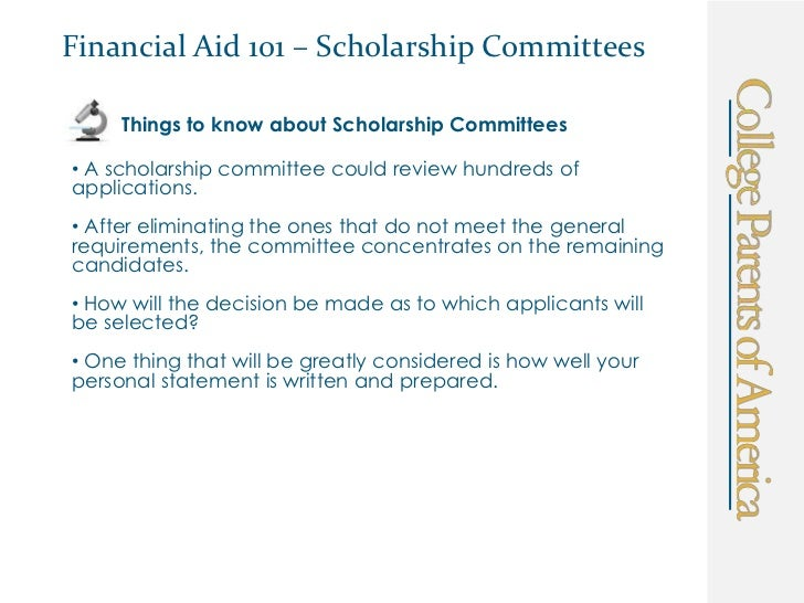 Financial Aid  Scholarship Personal Statement