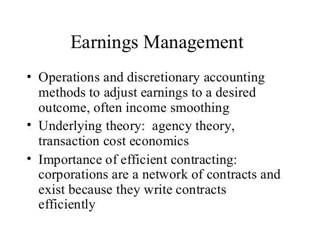 income smoothing ethical Income smoothing or earnings management occurs when companies artificially inflate or deflate their revenues or profits or earnings per share in order to show a consistent trend in earnings although it may be argued that income smoothing can be ethical, most 1.