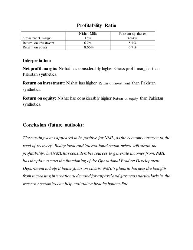 nishat mills ratio analysis 2018