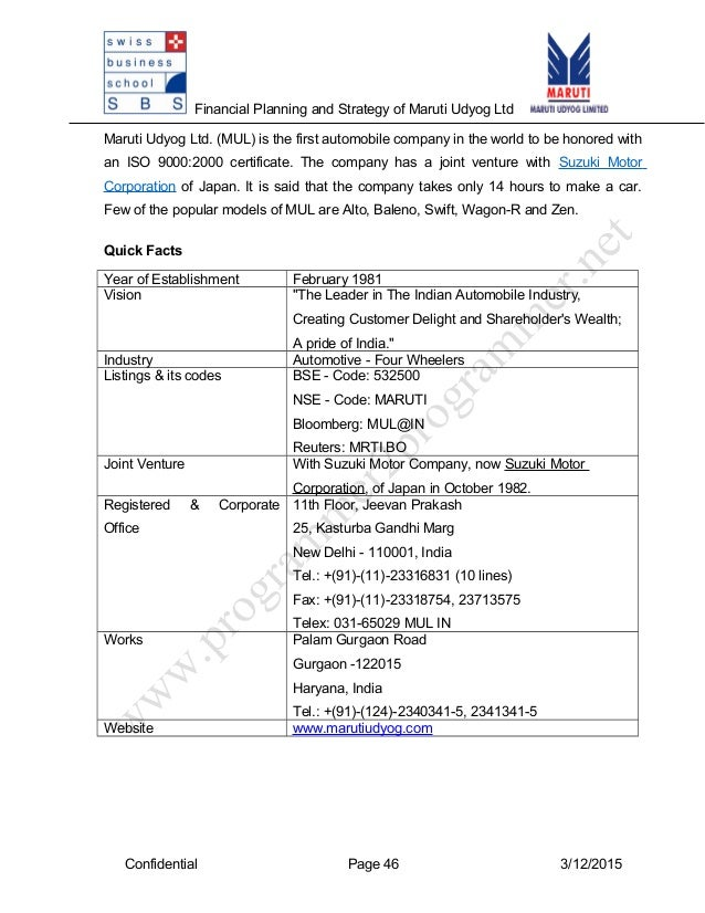 Financial Analysis Of Maruti Suzuki Ltd