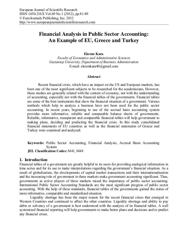 Financial analysis in public sector accounting an example of eu, gree…