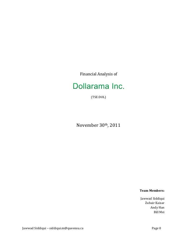 Financial Analysis of                                          (TSE:DOL)                                  November 30th, 2...