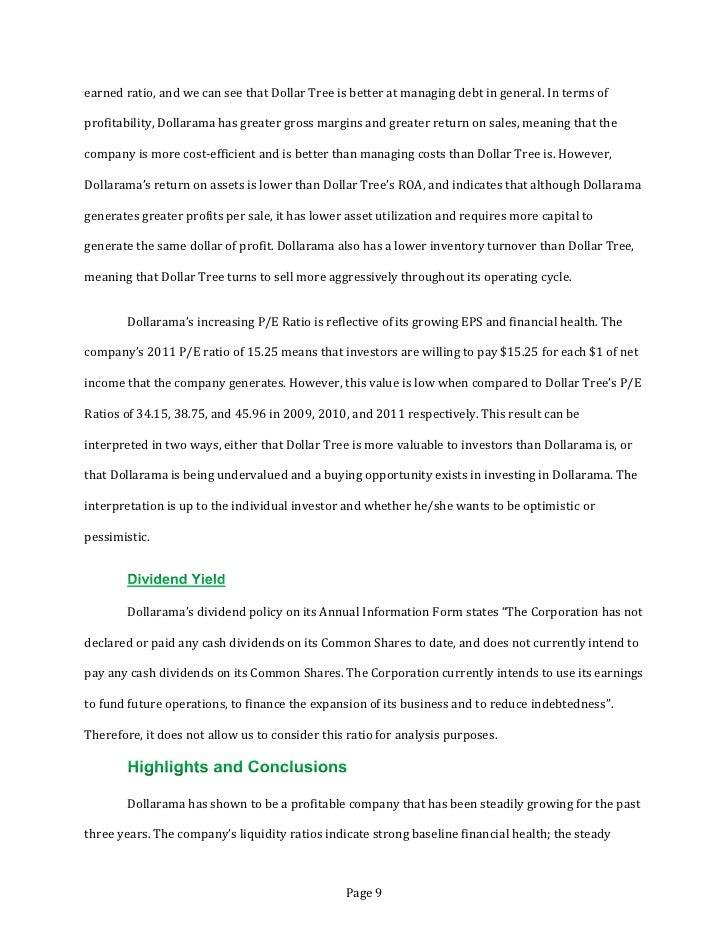 Financial Analysis Of Dollarama Dol