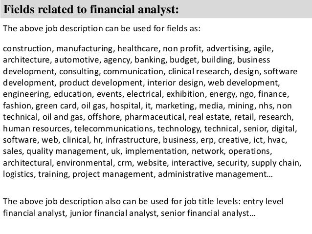 8 fields related to financial analyst - Junior Financial Analyst Resume
