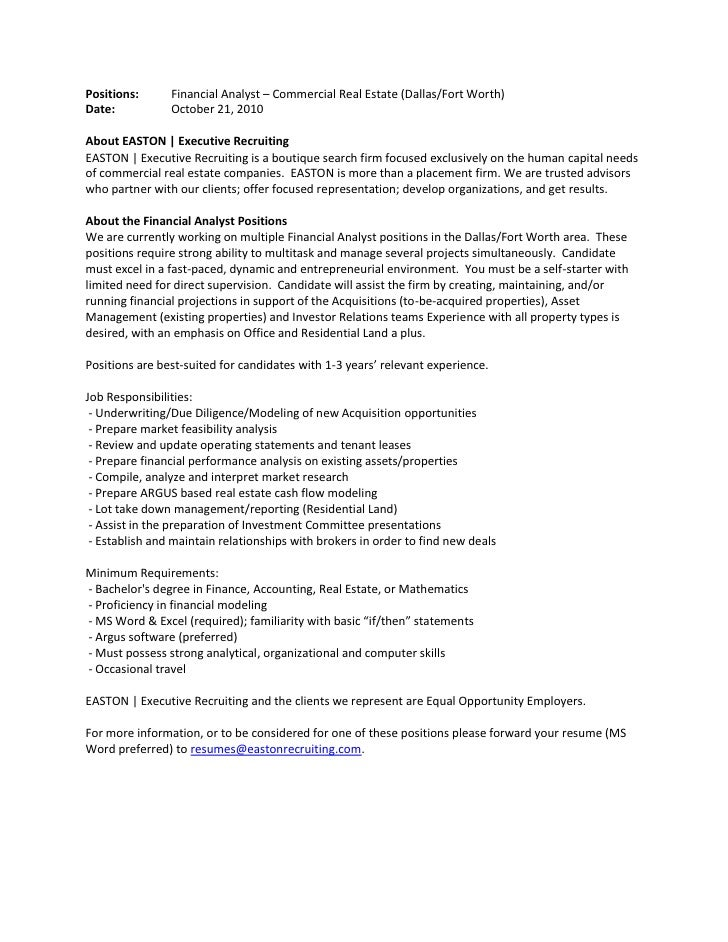 Financial Analyst - Job Description