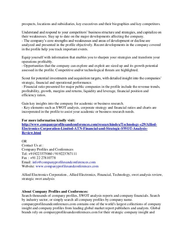 Financial And Strategic Swot Analysis Report On Allied Electronics Co