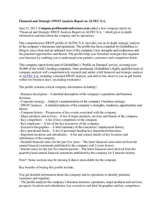 Financial And Strategic Swot Analysis Report On Altec SA