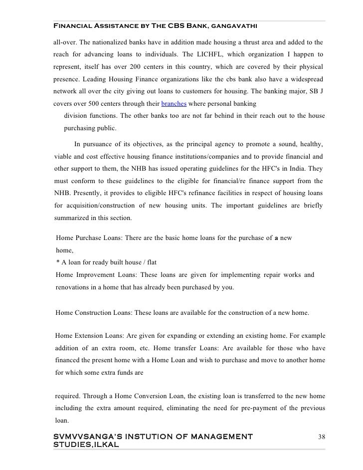 Project report on home loan for mba