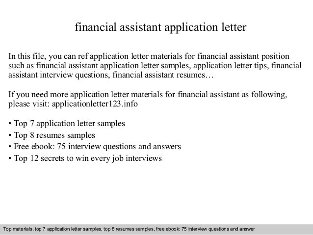 financial assistant application letter in this file you can ref application letter materials for financial