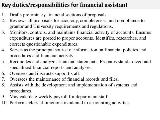 finance assistant job description sample