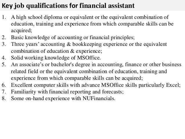 Financial Job Description - Template