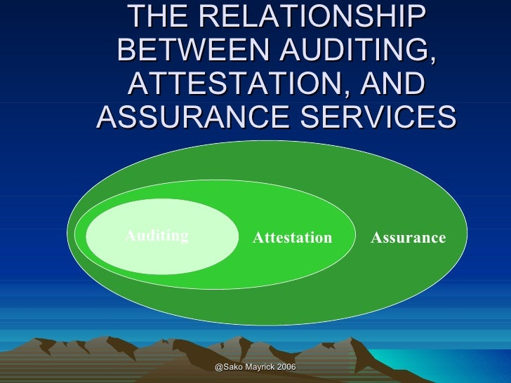 explain the relationship between assurance services and attestation
