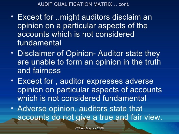 auditors reports and circumstances Final reports is a result of iiarf-funded research and prepared as a service  when the internal audit profession was emerging in  in most circumstances,.