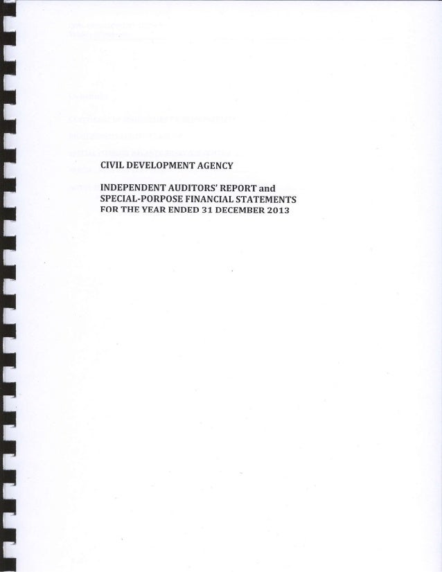 CIVILDEVELOPMENTAGENCY INDEPENDENTAUDITORS'REPORTand SPECIAL.PORPOSEFINANCIALSTATEMENTS FORTHEYEARENDED31 DECEMBER2013