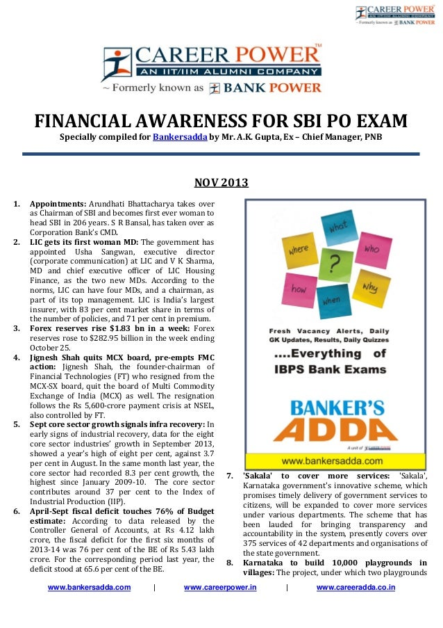 www.bankersadda.com | www.careerpower.in | www.careeradda.co.in FINANCIAL AWARENESS FOR SBI PO EXAM Specially compiled for...
