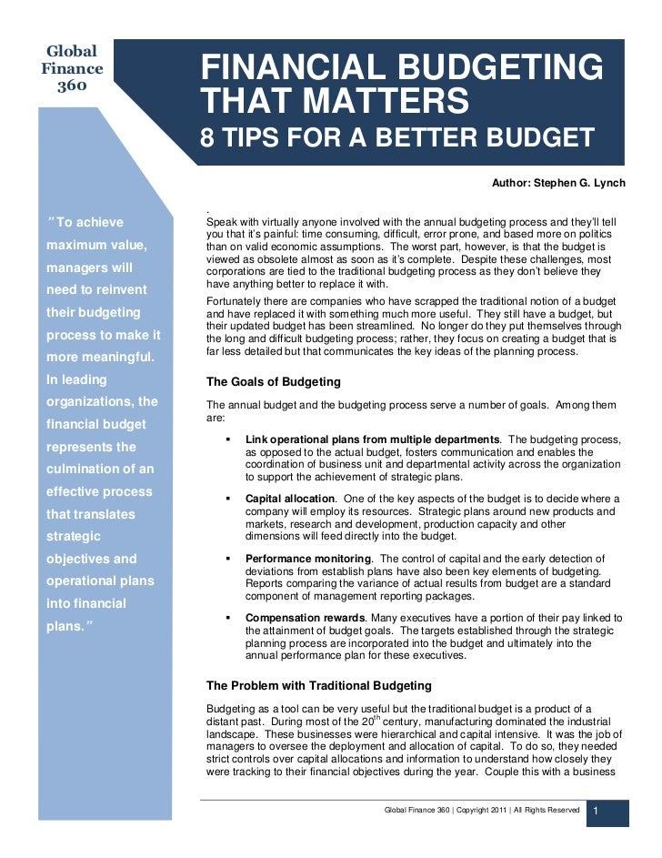 GlobalFinance  360                     FINANCIAL BUDGETING                     THAT MATTERS                     8 TIPS FOR...