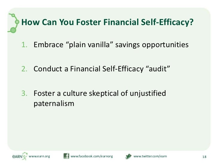 """How Can You Foster Financial Self-Efficacy?<br />Embrace """"plain vanilla"""" savings opportunities<br />Conduct a Financial Se..."""