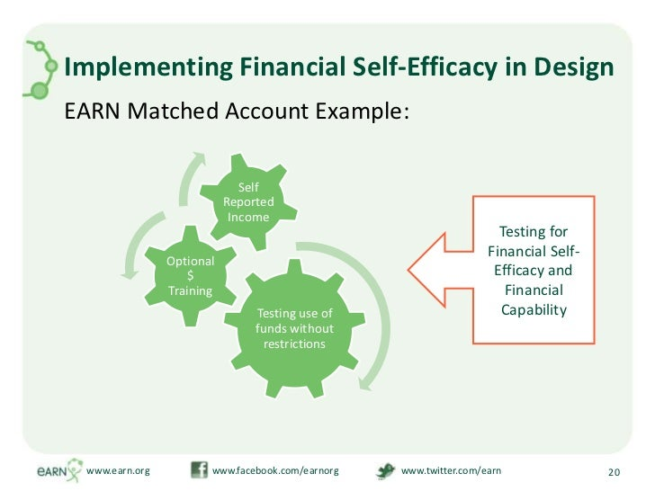 Implementing Financial Self-Efficacy in Design<br />EARN Matched Account Example:<br />www.earn.org                       ...