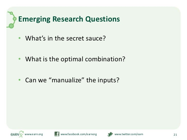 """Emerging Research Questions<br />What's in the secret sauce?<br />What is the optimal combination?<br />Can we """"manualize""""..."""