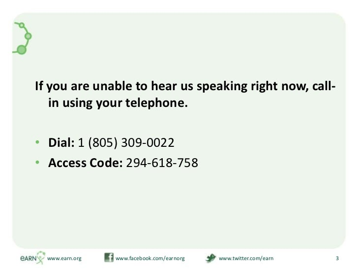 If you are unable to hear us speaking right now, call-in using your telephone.<br />Dial: 1 (805) 309-0022<br />Access Cod...