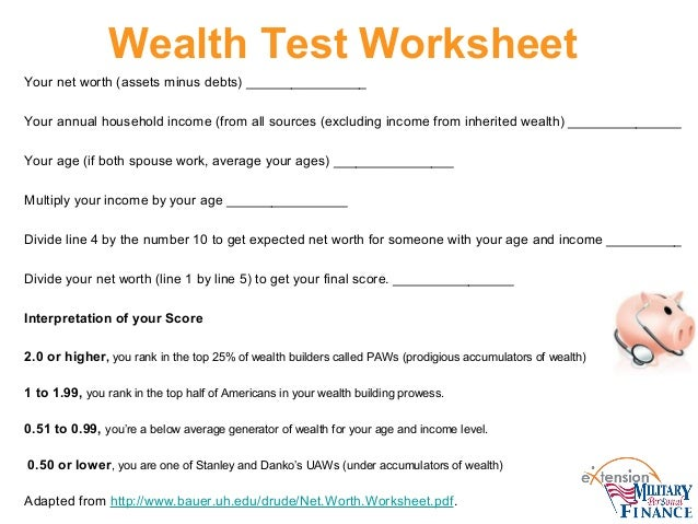 Financial check up – Debt to Income Worksheet