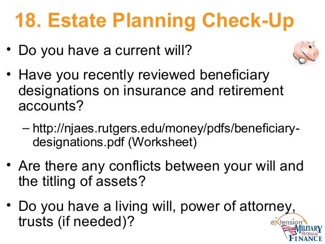 Financial check up – Estate Planning Worksheet