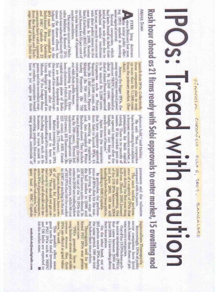 Financial Chronicle Bangalore July 6, 2009