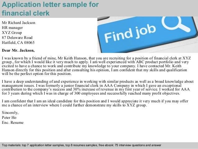 financial clerk application letter