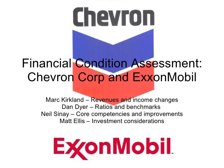 Financial Condition Assessment: Chevron Corp and ExxonMobil Marc Kirkland – Revenues and income changes Dan Dyer – Ratios ...