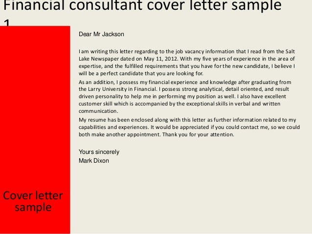 financial consultant cover letters